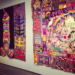 Works by Paul Yore: This Moment is critical, 2014 and Welcome to Hell, 2014